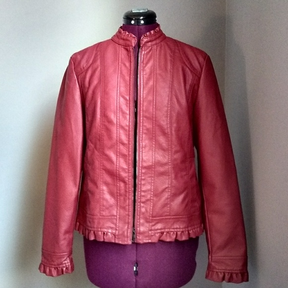 80506364a Baccini Red Faux Leather Zip Up Jacket Sz L